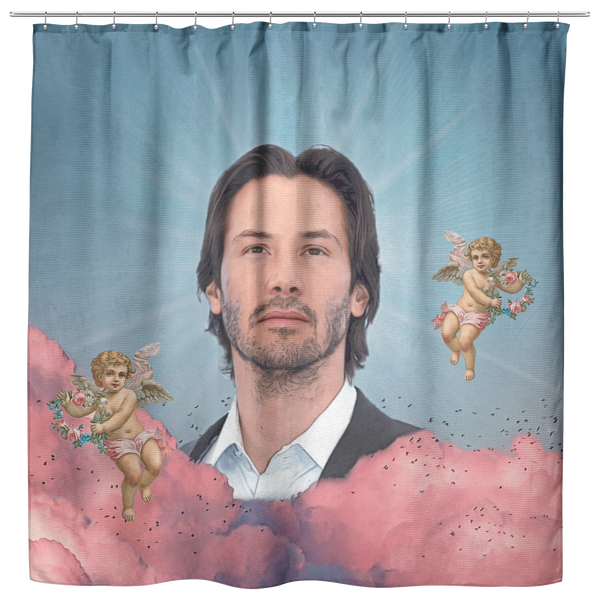 Keanu in the Clouds Shower Curtain | Funny Keanu Reeves Meme Bath Curtain - Funny Dorm Bathroom Decor