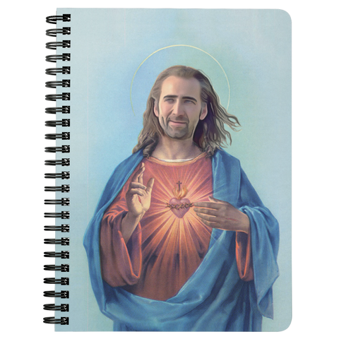 Nicolas Cage as Jesus Spiral Notebook - Meme Cuisine - Meme Journals