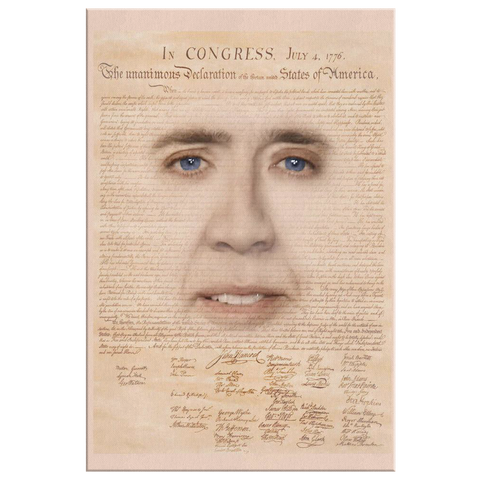 Nicolas Cage with Declaration of Independence Canvas Print - Meme Cuisine - Meme Canvas Wall Art 2