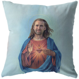 Nic Cage as Jesus Throw Pillow / Pillow Cover - Funny Nicolas Cage Home Dorm Decor - 16x16, 18x18, 20x20, 26x26