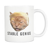 Stable Genius Trump Cat Meme Coffee Mug - Funny Donald Trump Tweet Joke - Democrat Humor Gifts