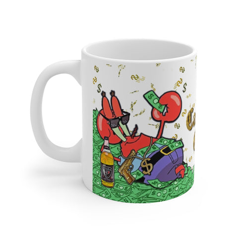 Mr Krabs Cash Gang Mug - Funny Spongebob Squarepants Meme, White Elephant Gift - Meme Cuisine