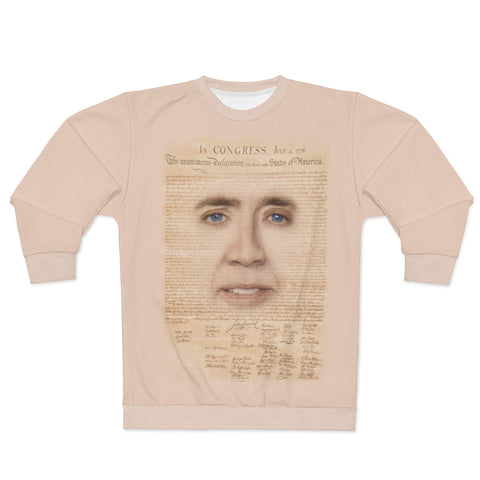 Nicolas Cage with Declaration of Independence Sweatshirt - National Treasure Meme Pullover for Men or Women, Nic Cage Face Pullover - meme Cuisine