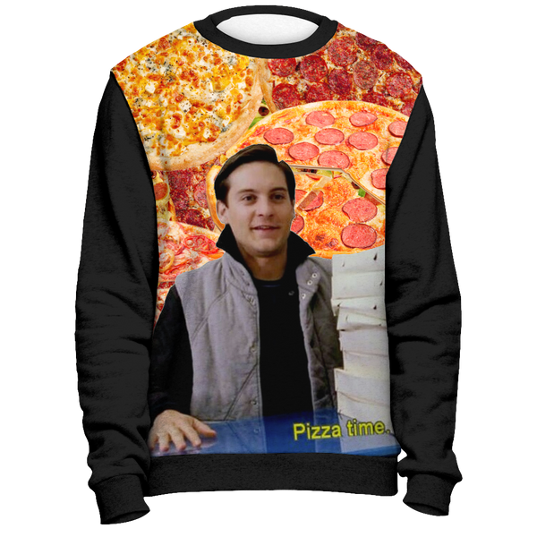 Spiderman Pizza Time Sweatshirt  | Funny Spider Man Superhero Meme Sweater | Gifts for Nerds, Marvel Lovers  | Adult Mens Womens Unisex | Meme Cuisine
