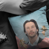 Keanu in the Clouds Throw Pillow - Meme Cuisine - Meme Pillows Multi