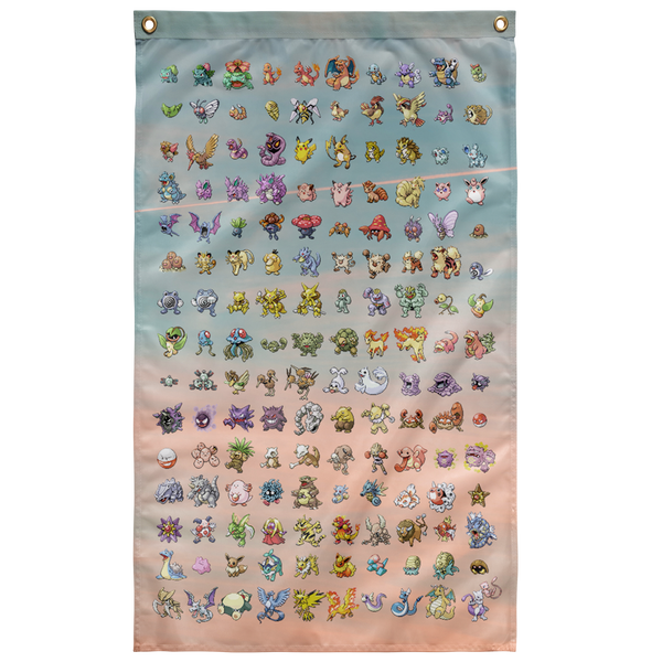 Original 151 Pokemon Wall Flag - Meme Cuisine - Meme Flags