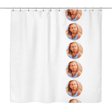 White Nicolas Cage Polka Dot Shower Curtain | Funny Con Air Meme Shower Curtains | Funny Dorm Bathroom Decor