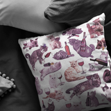 Cats with Wine Throw Pillow - Meme Cuisine - Meme Pillows Multi