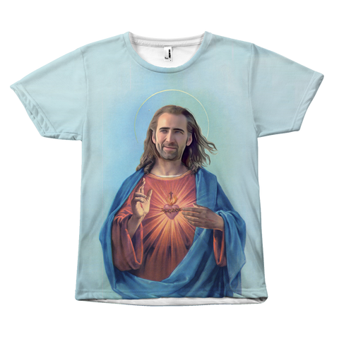 Nicolas Cage As Jesus T-Shirt | Funny Nic Cage Meme Shirt | Funny gifts for him  - Meme Cuisine Apparel