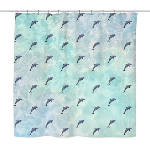 Vapor Wave Dolphin Shower Curtain | Funny Retro Bath Curtains | Blue Nautical Ocean Dorm Bathroom Decor