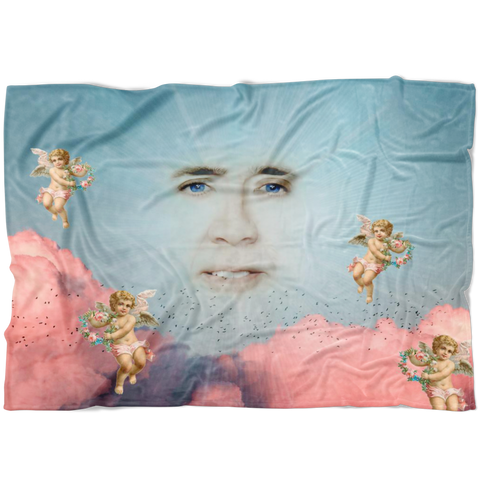 Nic Cage in the Clouds Fleece Throw Blanket - Meme Cuisine - Meme Blankets