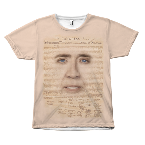 Nicolas Cage with Declaration of Independence Shirt | National Treasure Meme T-Shirt, Funny Nic Cage Face Meme Shirt, Adult Mens Shirts