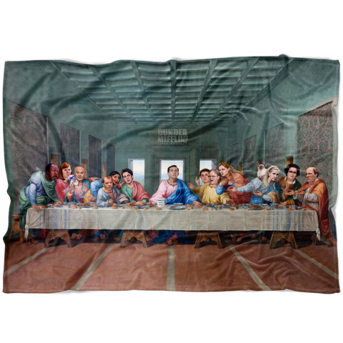 The Last Supper at Dunder Mifflin Fleece Blanket - Meme Cuisine - Meme Blankets