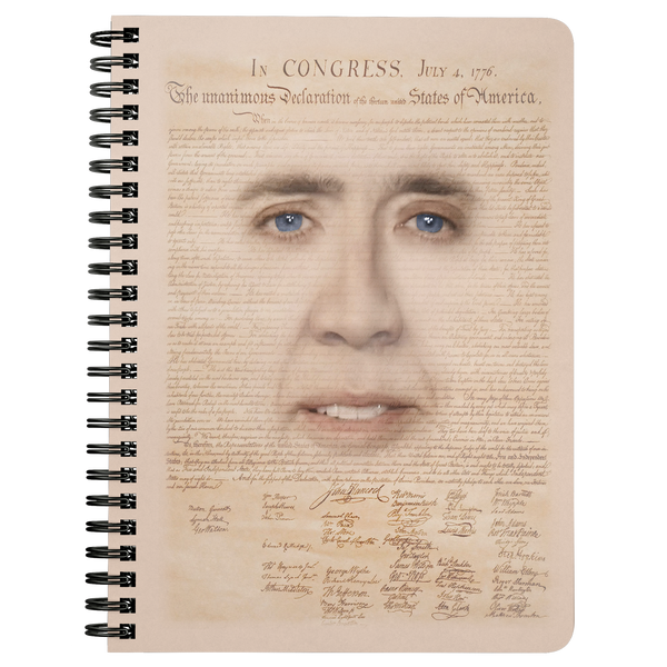 Nicolas Cage with Declaration of Independence Spiral Notebook - Meme Cuisine - Meme Journals