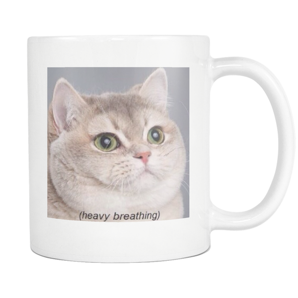 Heavy Breathing Cat Meme Coffee Mug - Funny Cat Lover Gifts