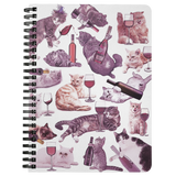 Cats with Wine Spiral Notebook - Meme Cuisine - Meme Journals