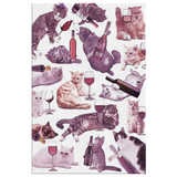 Cats with Wine Canvas Print - funny Cat Lover art gift