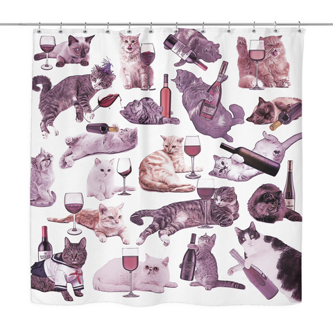 Cats with Wine Shower Curtain - Meme Cuisine - Meme Shower Curtains