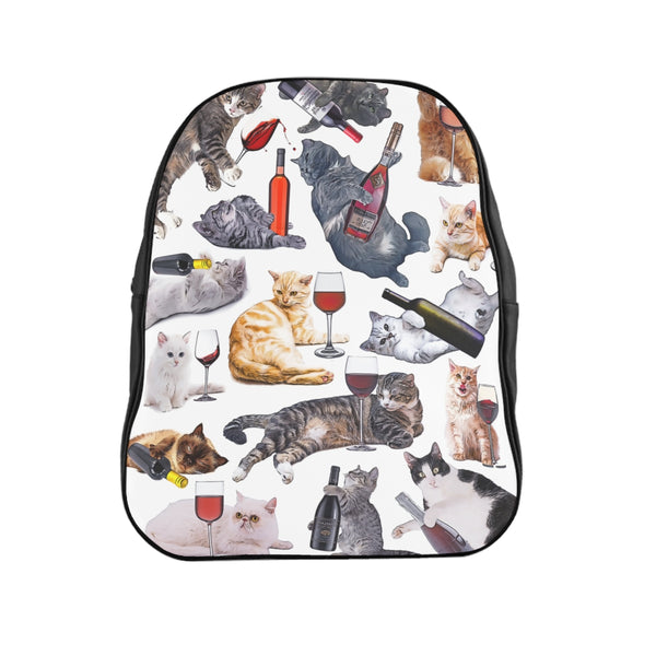 Cats with Wine Backpack - Funny Cat Adult Bookbag - Meme Cuisine