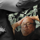 "Danny Devito with Money Throw Pillow / Pillow Cover / Pillowcase | Funny Frank Reynolds Always Sunny Home / Dorm Decor Gift 16"" 18"" 20"" 26"""