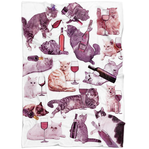 Cats with Wine Fleece Blanket - Meme Cuisine - Meme Blankets