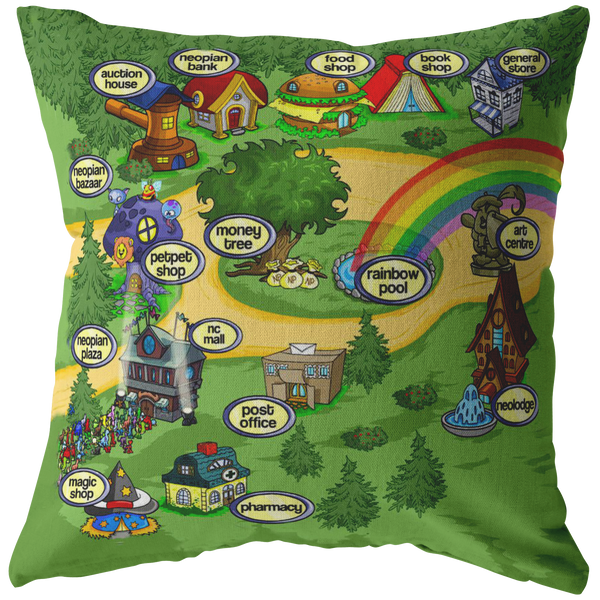 Neopets Throw Pillow / Pillow Cover / Pillowcase - Funny Dorm Home Decor, Funny Gifts for her, Nerd Gamer Gift 16x16 18x18 20x20 26x26