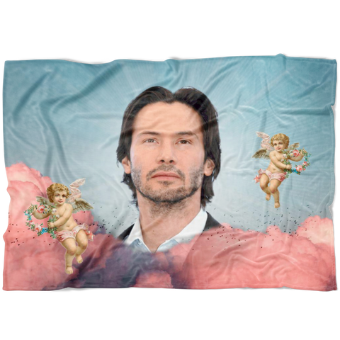 Keanu in the Clouds Fleece Throw Blanket |  Funny Meme Home Decor Housewarming Gift | Dorm Decor