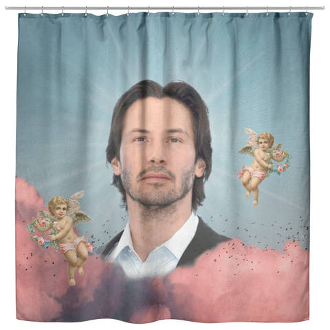 Keanu in the Clouds Shower Curtain - Meme Cuisine - Meme Shower Curtains