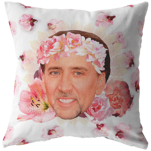Nicolas Cage Face throw pillow - funny meme home decor dorm pillow