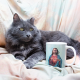 Nic Cage as Jesus Meme Coffee Mug - Meme Cuisine - Cat with funny coffee mug
