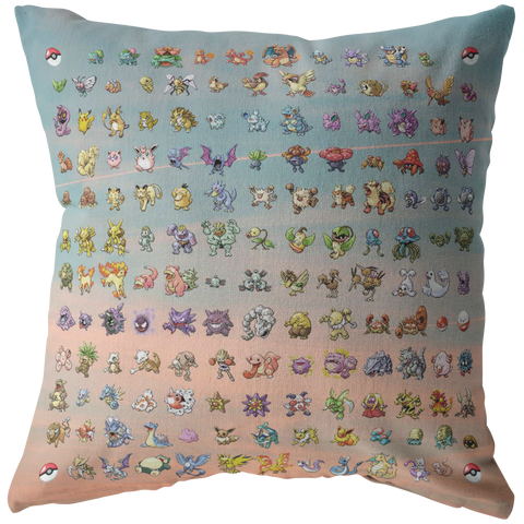 "Original 151 Pokemon Throw Pillow / Pillow Cover - Funny Home Decor - Pastel Gamer Girl Gifts - Dorm Decorative Pillow 16"" 18"" 20"" 26"""