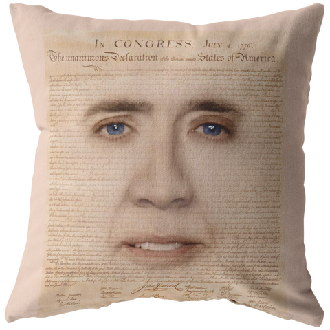 Nicolas Cage with Declaration of Independence Throw Pillow - Meme Cuisine - Meme Pillows Multi