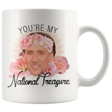 You're My National Treasure Mug - Nicolas Cage Meme Coffee Mug - Funny Nic Cage Face Meme Gift for Boyfriend / Girlfriend / Best Friend