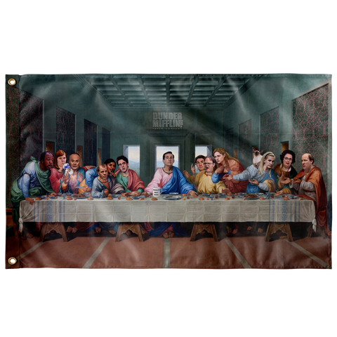 The Last Supper at Dunder Mifflin Wall Flag - Meme Cuisine - Meme Flags