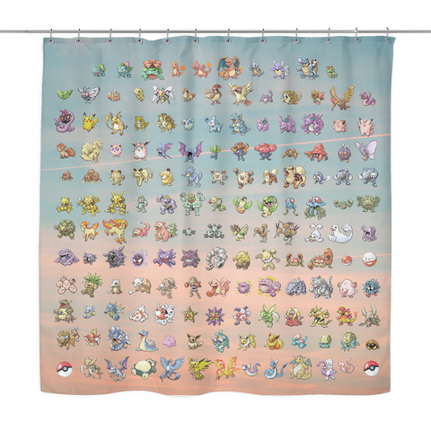 Original 151 Pokemon Shower Curtain | Funny Gamer Nerd Dorm Bathroom Decor