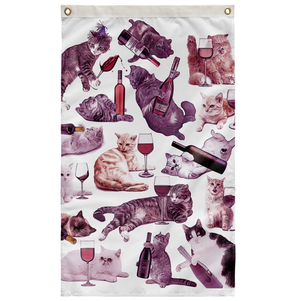 Cats with Wine Wall Flag - Meme Cuisine - Meme Flags