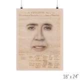 Nicolas Cage with the Declaration of Independence Poster - Meme Cuisine - Meme Posters 2