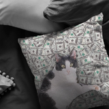 Cat Money Throw Pillow - Meme Cuisine - Meme Pillows Multi