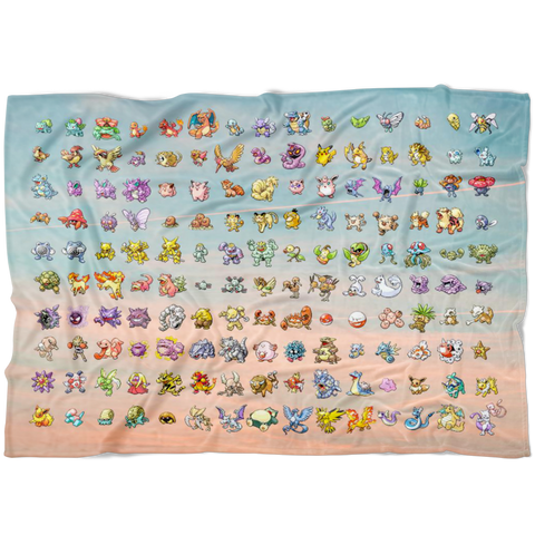 Original 151 Pokemon Fleece Blanket | Gen 1 Pokemon Throw Blanket | Gamer Girl Gifts Pastel Dorm Decor