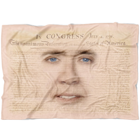 Nicolas Cage with Declaration of Independence Fleece Throw Blanket - Meme Cuisine - Meme Blankets
