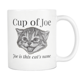 Cup of Joe Mug - Funny Cat Pun Coffee Mugs - Coffee Dad Joke Gifts - Cat Coffee Cup