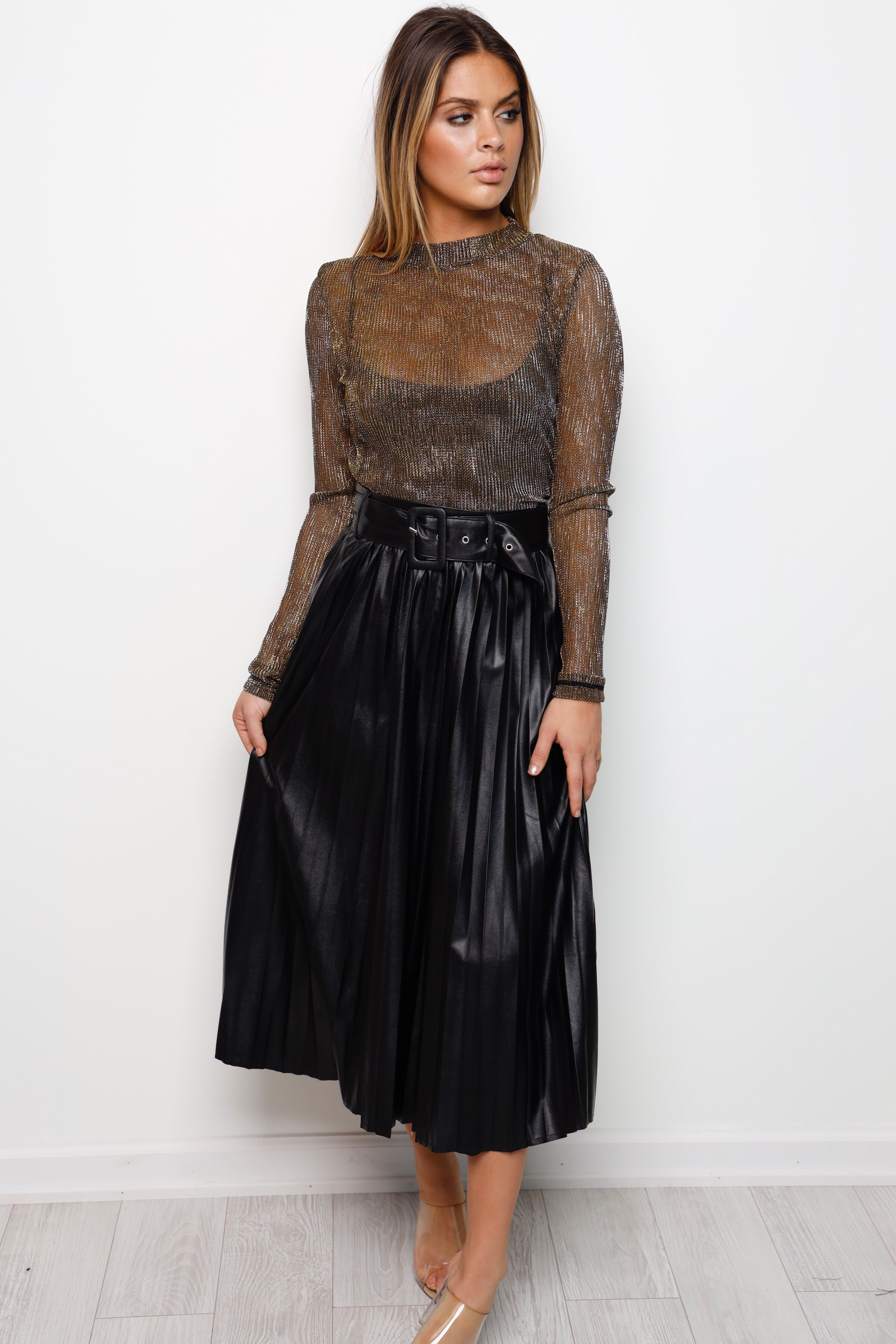 Pretty In Pleats Leather Skirt