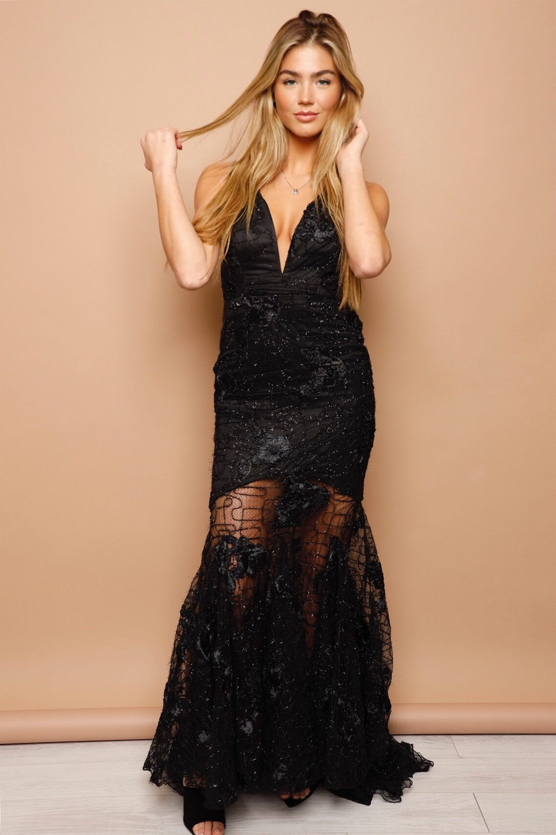 In Awe Floral Lace Gown