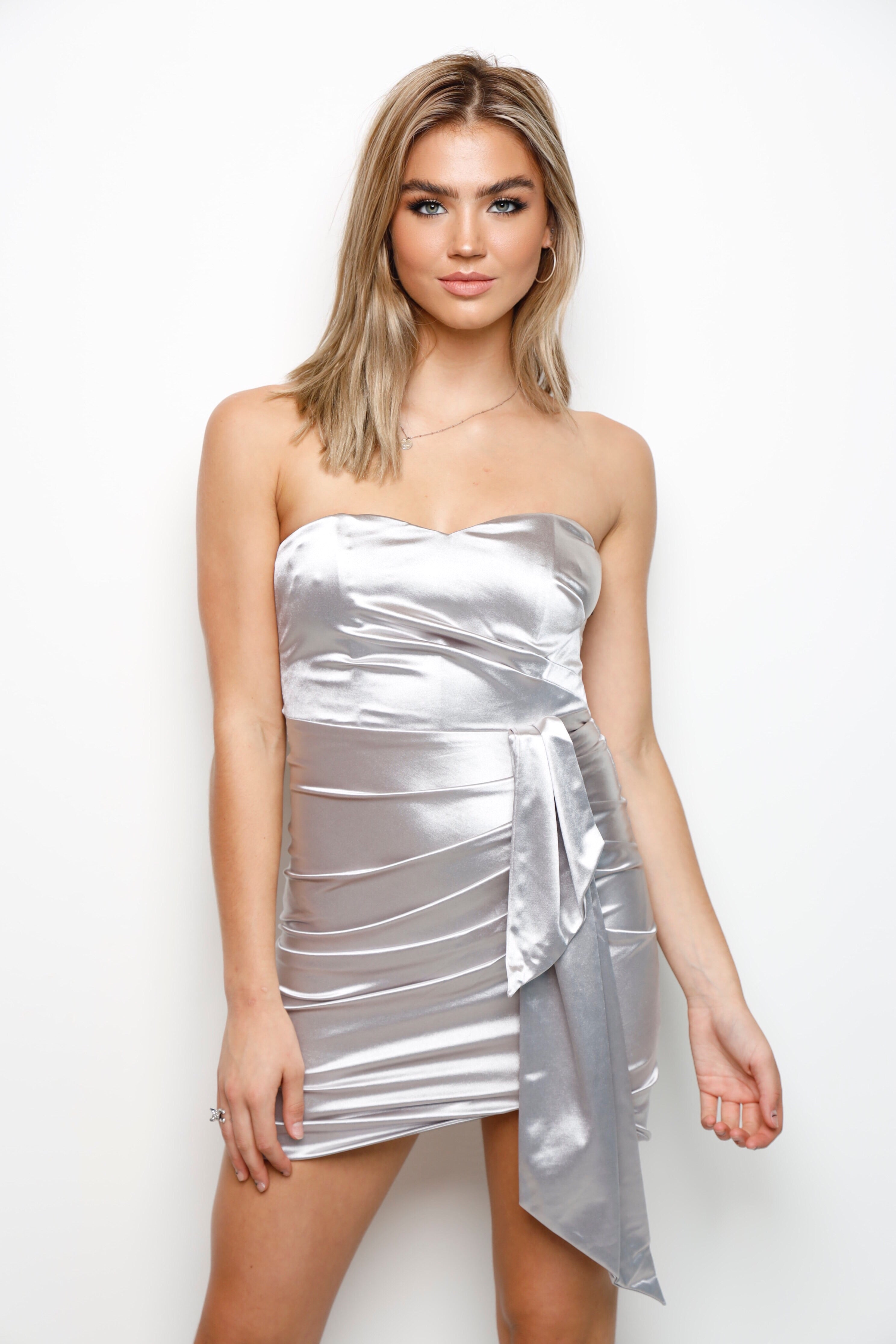 Sittin' Pretty Mini Dress -Silver