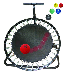 Adjustable Ball Rebounder - Set with Circular Rebounder, 1-tier Horizontal Plastic Rack, 5-balls (1 each: 2,4,7,11,15 lb)