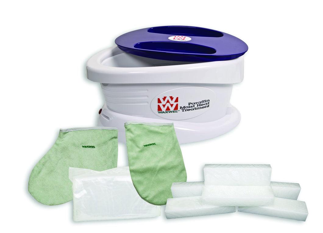 WaxWel Paraffin Bath - Standard Unit Includes: 100 Liners, 1 Mitt, 1 Bootie and 6 lb Unscented Paraffin