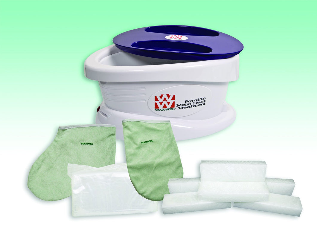 WaxWel Paraffin Bath - Standard Unit Includes: 100 Liners, 1 Mitt, 1 Bootie and 6 lb Wintergreen Paraffin