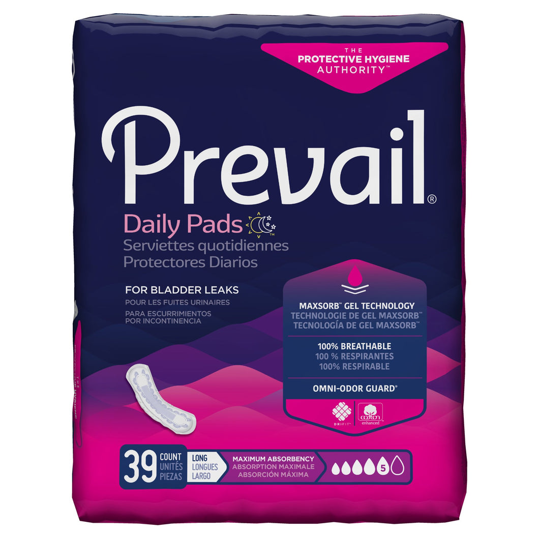 Prevail(R) Daily Pads Maximum Bladder Control Pad, 13-Inch Length