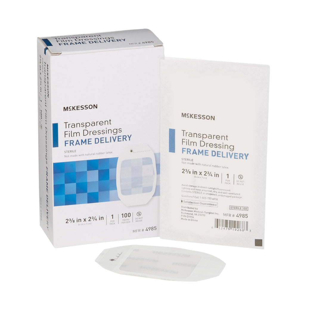 McKesson Octagonal Sterile Dressing with Frame-Style Delivery, 2-3/8 x 2-3/4 Inch, Transparent