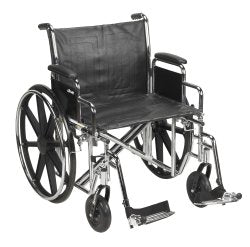 McKesson Heavy-Duty Wheelchair with Padded, Removable Arm, Composite Mag Wheel, 22 in. Seat, Swing-Away Footrest, 450 lbs